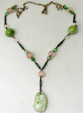 Vintage Chinese Sterling Silver, Turquoise, Pink Quartz and Jade Necklace