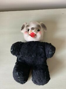 Rushton? vintage rubber plastic faced panda bear stuffed animal toy