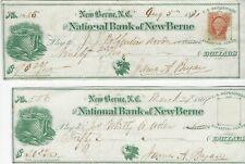 (2) 1869 National Bank of New Berne, NC checks