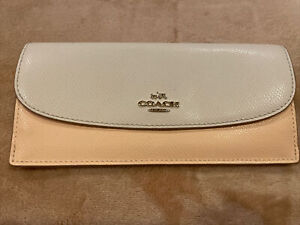 COACH Peach And Cream Slim Leather Envelope Snap Front Wallet