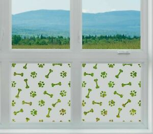Etched Glass Window Film FROSTED PAW PRINT BONES dog grooming vets animals pet