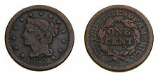 United States 1852 Large Cent Braided Hair Fine 12