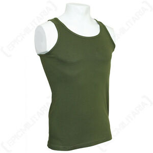 Olive Green Army Tank Top - Military Vest Mens 100% Cotton Sleeveless Undershirt