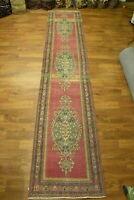 Wonderful Light Red Semi-Antique 3x14 Anatolian Turkish Oriental Runner Rug