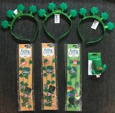 Lot of 7 St. Patricks Items - Flashing Shamrock Necklace, Headband, & Hair Clip