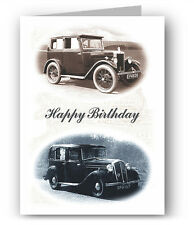 Vintage Cars Birthday Card Morris Minor Wolseley Hornet Nostalgia Colourful Past