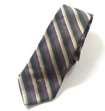 Vintage LANVIN Paris Men's Necktie Luxury Designer Diagonal Striped Logo Tie