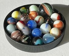 MIXED LOT OF 21 ASSORTED ANTIQUE VINTAGE GLASS MARBLES & 1 SHOOTER -  #21