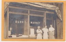 Real Photo Postcard Rppc - Clerks / Owner Outside Burr's Market