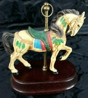 Vintage Beautiful Porcelain Horse Carousel Music Box Plays It's A Small World