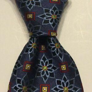 JOS. A. BANK Signature Gold Men's Silk Necktie Luxury Geometric Blue/Red EUC