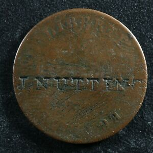 Deux centimes 1846 / An 43 Haiti KM#27.2 Copper Haïti 2 c countermark J. NUTTING