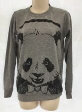 New H Henry Holland Panda Print Grey Long Sleeve Sweater Jumper Top UK 6-8 DD22