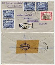 ADEN 1951 to LOUTH GB NAT.BANK of INDIA ENVELOPE...REGISTERED AIRMAIL HANDSTAMP