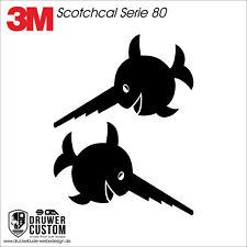 Sägefisch U96 Aufkleber Set 2-teilig klein  matt o. glänzend schwarz