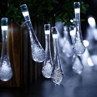 Solar Garden Lights String Fairy 20 White LED Rain Drop Weatherproof Outdoor