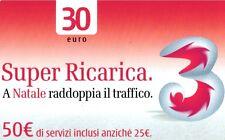 1561 SCHEDA RICARICA SERVIZI USATA TRE A NATALE 30 31/12/2004 OCR 22 CAB 25