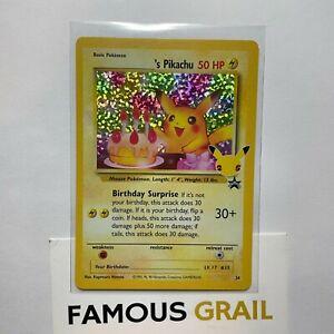 Birthday Pikachu - 24 - Rare Holo Card - Pokemon Celebrations MINT