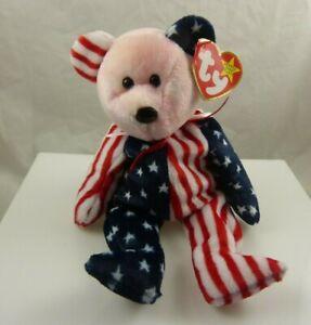 Ty Spangle beanie baby birthday June 1999 patriotic red white blue stars