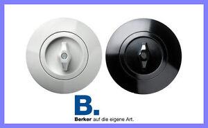 Berker Lichtschalter Serie 1930 Drehschalter rund weiß schwarz Bauhaus + Rahmen