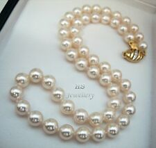 HS 8mm Collection Quality Japanese Akoya Cultured Pearl Necklace 18K w/ Diamonds