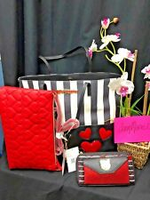 NEW  3 Pc Betsey Johnson Tote Black White Red Heart Quilted Purse Bag Wallet SET