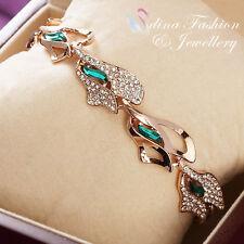 18K Rose Gold Filled Made With Swarovski Crystal Unique Emerald leaf Bracelet