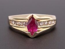 10k Yellow Gold Heart Shaped .37ct Synthetic Ruby Diamond Love Flower Band Ring