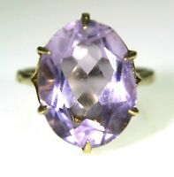 Vintage Large Amethyst Solitaire 9ct Yellow Gold ring size N ~ 6 3/4