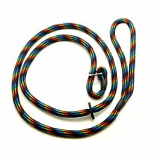 Kjk Ropeworks Braid Slip Lead With Rubber Stop Black Rainbow 8mm X 150cm