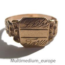 Antigua historicismo 330er anillo de oro amor fidelidad emblema sello Biedermeier