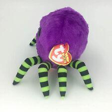 ".Ty Beanie Boos 6"" Crawly Halloween Purple Spider Stuffed Plush Toy Kids Gift ZR"