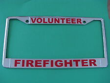 VOLUNTEER FIREFIGHTER-License Plate Frame-Chromed Cast Metal-#814978