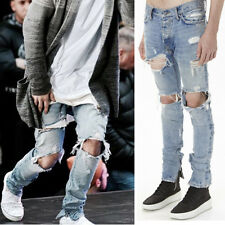 Men's Ripped Jeans Skinny Slim Fit Denim Pants Destroyed Frayed Trousers