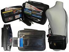Leather Travel Organiser Utility Man Bag Shoulder Bags Black R521
