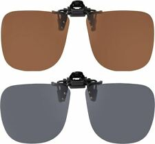 Leader Square High Quality Polarised Flip up Clip On Sunglasses + Clear Pouch
