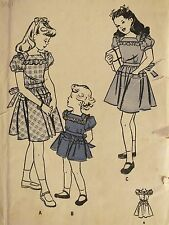 VTG 30s BUTTERICK 3879 Girls Dirdl Frock/Dress w Hipline Detail PATTERN 8/26B UC