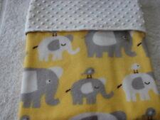 Grey &White Elephants on Yellow Reversible White Minkee/Fleece Handmade Blanket