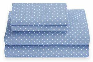 Tommy Hilfiger Chambray Dots Blue & White 3-Piece Twin XL Sheet Set