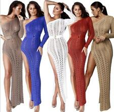 Sexy Woman knitted crochet hollow one shoulder bodycon long Dress S-XL  Z013