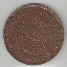 NEW ZEALAND,  1950,  PENNY,  BRONZE,  KM#21,  EXTRA FINE   (001)