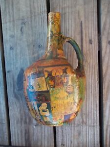 Vintage Decoupage Collage Wine Bottle with Handle 10-1/2 Rich Colors Old World