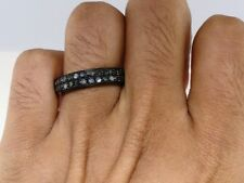 14k Black Gold Over Round Cut Black Lab Diamond Wedding Engagement Band Ring