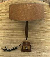 Mid Century Modern Lamp Wood Leather Brass Dimmer