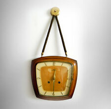 Hald Germany hanging wall clock with polished wood case - FREE SHIPPING