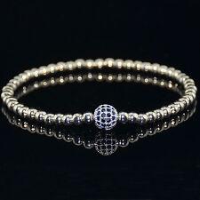 Men's Woman's Silver Plated Diamond Ball Macrame Beaded Bracelets Friendship