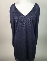 Lilly Pulitzer Carleigh Tunic Dress True Navy Bamboo Geo Metallic Silk 6 AI42