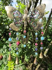 Hand Made Indian Metal Iron Butterfly Bells Beads Garden Wind Chime Mobile