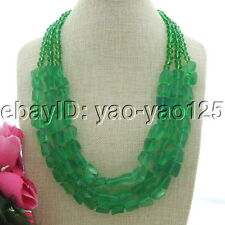 "Glass Nugget Crystal Necklace 3 Strands 24""-28"" Green"