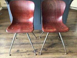 2 Pagholz Molded Plywood Chairs Mid Century Modern MCM Sonett Austria Legs